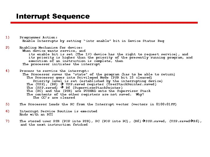 """Interrupt Sequence 1) Programmer Action: Enable Interrupts by setting """" intr enable"""" bit in"""