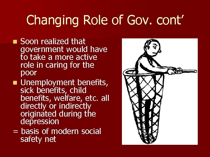 Changing Role of Gov. cont' Soon realized that government would have to take a