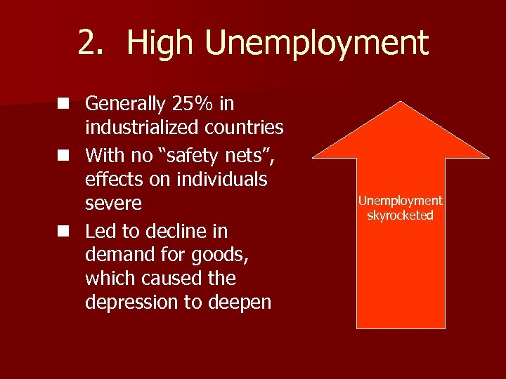 "2. High Unemployment n Generally 25% in industrialized countries n With no ""safety nets"","