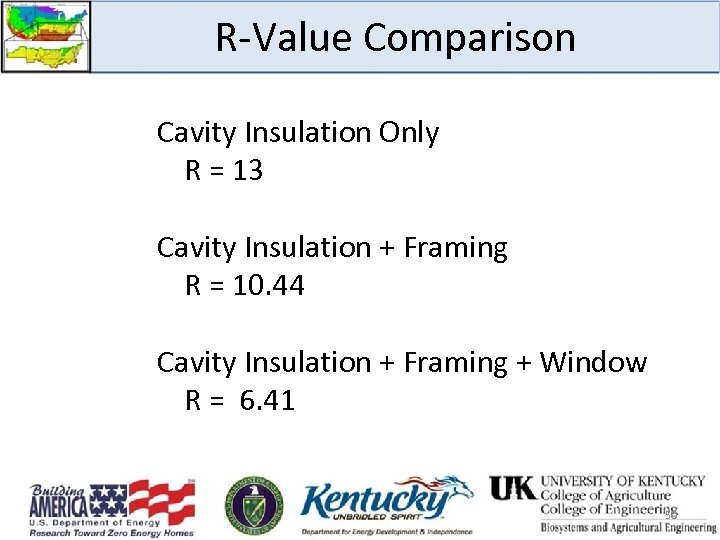 R-Value Comparison Cavity Insulation Only R = 13 Cavity Insulation + Framing R =
