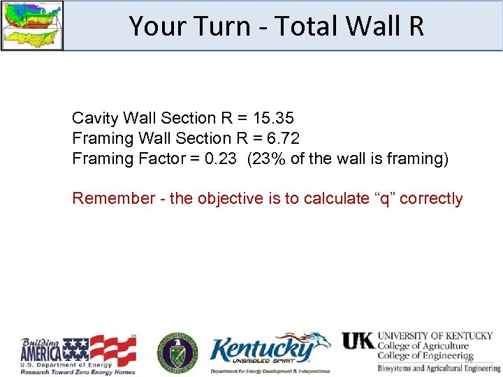Your Turn - Total Wall R Cavity Wall Section R = 15. 35 Framing