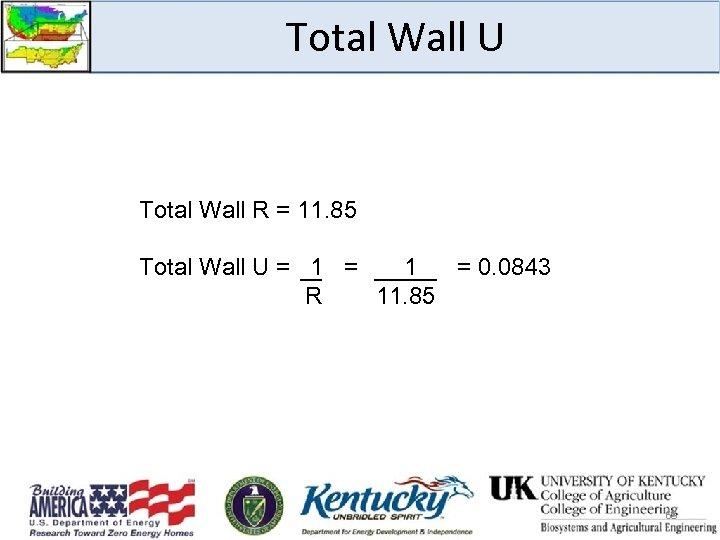 Total Wall U Total Wall R = 11. 85 Total Wall U = 1