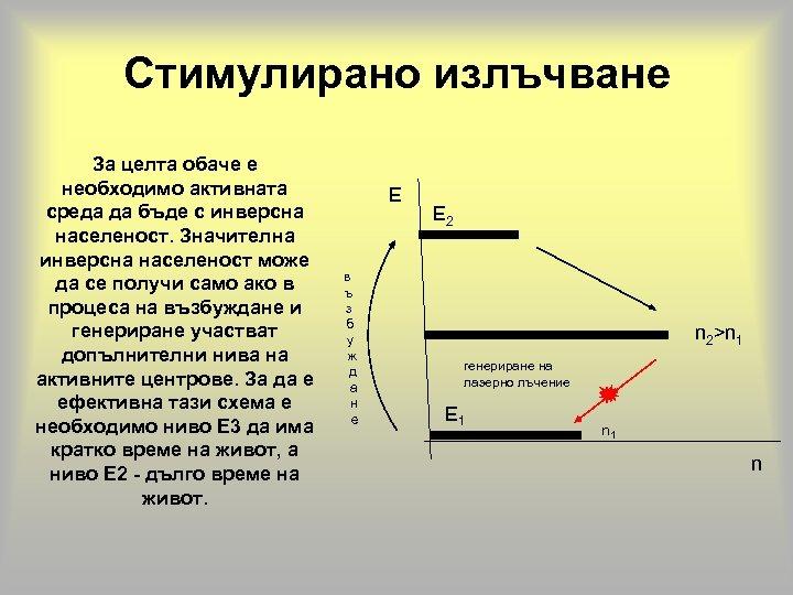 Стимулирано излъчване За целта обаче е необходимо активната среда да бъде с инверсна населеност.