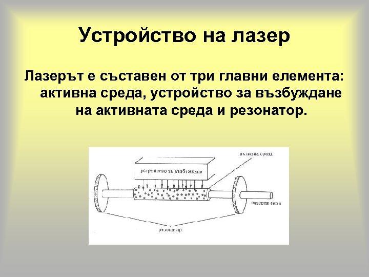 Устройство на лазер Лазерът е съставен от три главни елемента: активна среда, устройство за