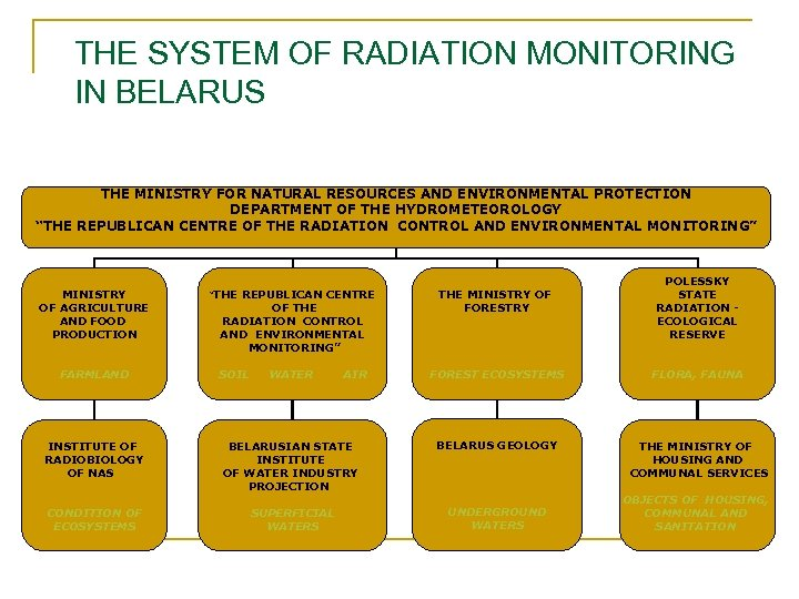 THE SYSTEM OF RADIATION MONITORING IN BELARUS THE MINISTRY FOR NATURAL RESOURCES AND ENVIRONMENTAL