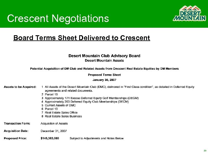 Crescent Negotiations Board Terms Sheet Delivered to Crescent 20