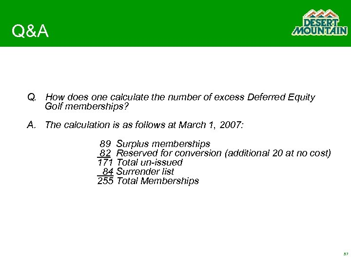 Q&A Q. How does one calculate the number of excess Deferred Equity Golf memberships?