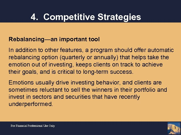 4. Competitive Strategies Rebalancing—an important tool In addition to other features, a program should