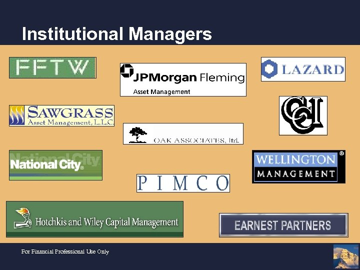 Institutional Managers For Financial Professional Use Only