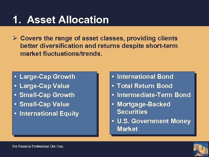 1. Asset Allocation Ø Covers the range of asset classes, providing clients better diversification
