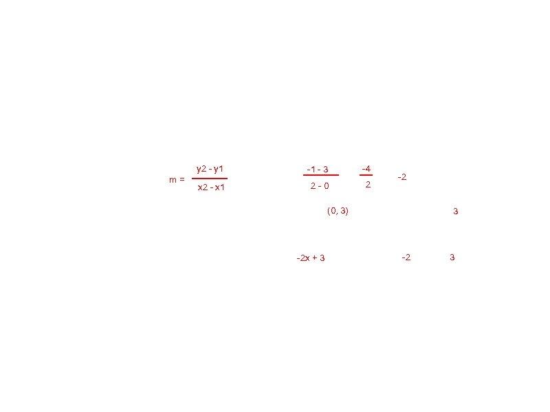 y 2 - y 1 m= -1 - 3 -4 x 2 - x