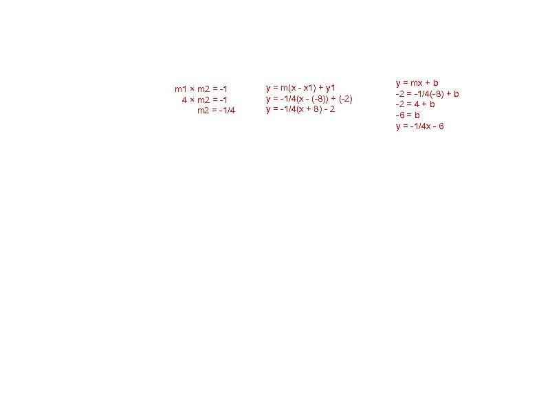 m 1 × m 2 = -1 4 × m 2 = -1/4 y