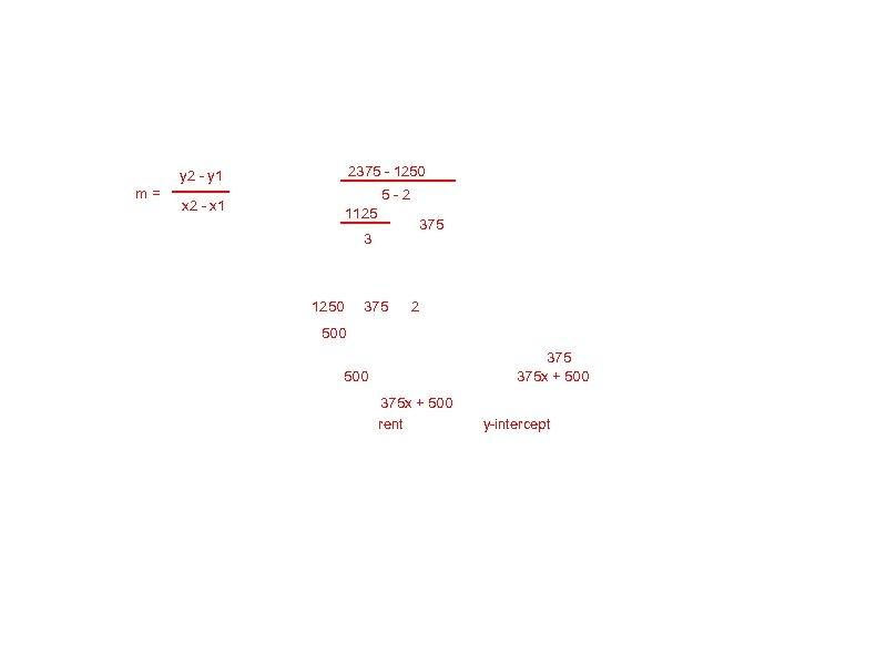 2375 - 1250 y 2 - y 1 m= 5 -2 x 2 -