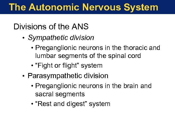 The Autonomic Nervous System Divisions of the ANS • Sympathetic division • Preganglionic neurons