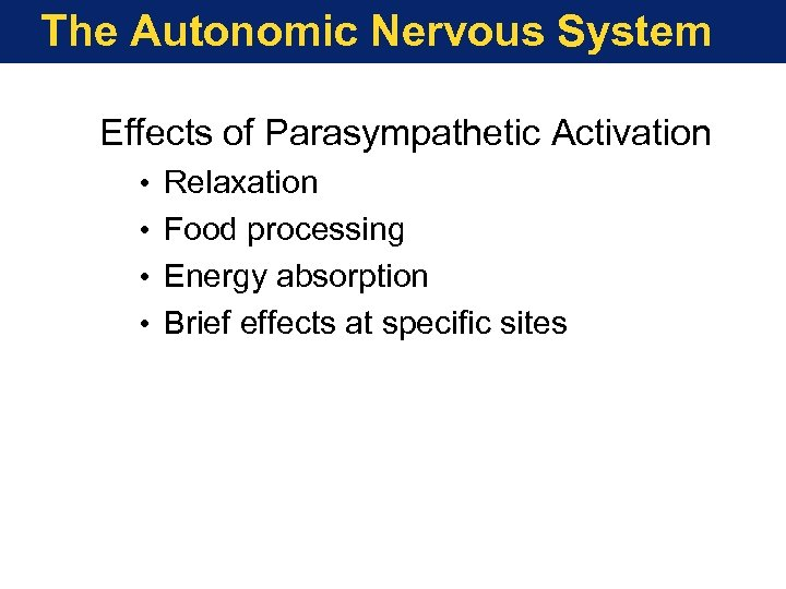 The Autonomic Nervous System Effects of Parasympathetic Activation • • Relaxation Food processing Energy