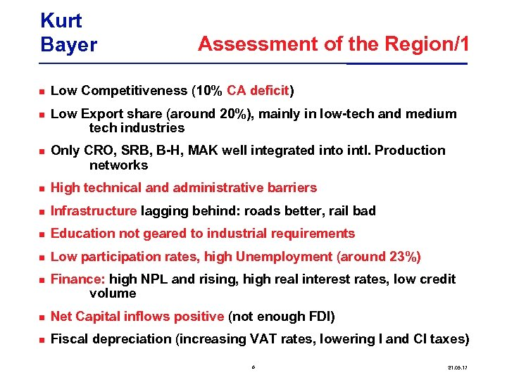 Kurt Bayer Assessment of the Region/1 Low Competitiveness (10% CA deficit) Low Export share