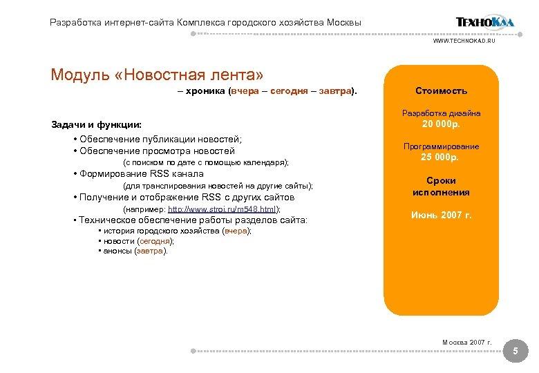 Разработка интернет-сайта Комплекса городского хозяйства Москвы WWW. TECHNOKAD. RU Модуль «Новостная лента» – хроника