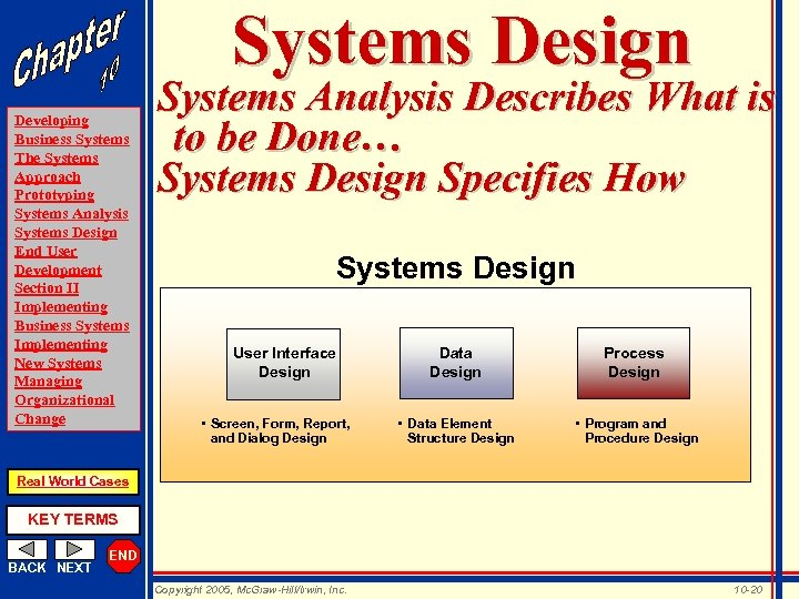 Systems Design Developing Business Systems The Systems Approach Prototyping Systems Analysis Systems Design End