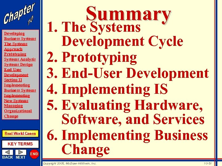 Summary Developing Business Systems The Systems Approach Prototyping Systems Analysis Systems Design End User