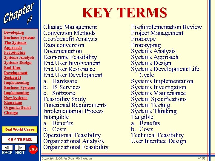 KEY TERMS Developing Business Systems The Systems Approach Prototyping Systems Analysis Systems Design End