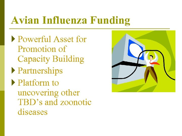 Avian Influenza Funding } Powerful Asset for Promotion of Capacity Building } Partnerships }