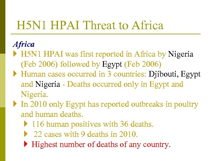 H 5 N 1 HPAI Threat to Africa } H 5 N 1 HPAI