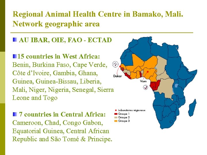 Regional Animal Health Centre in Bamako, Mali. Network geographic area AU IBAR, OIE, FAO