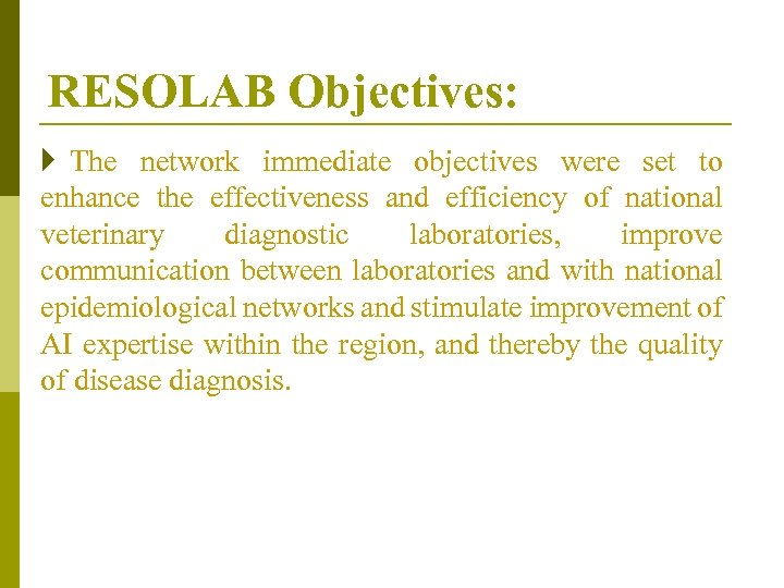RESOLAB Objectives: } The network immediate objectives were set to enhance the effectiveness and