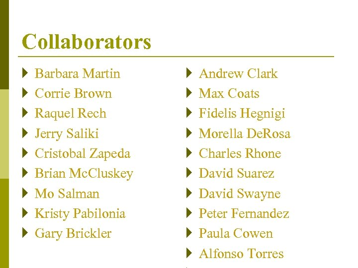 Collaborators } } } } } Barbara Martin Corrie Brown Raquel Rech Jerry Saliki