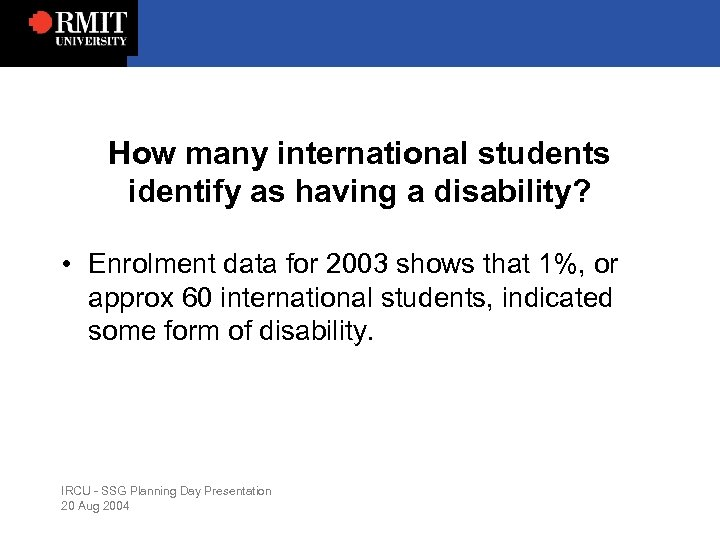 How many international students identify as having a disability? • Enrolment data for 2003