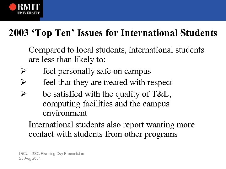 2003 'Top Ten' Issues for International Students Compared to local students, international students are