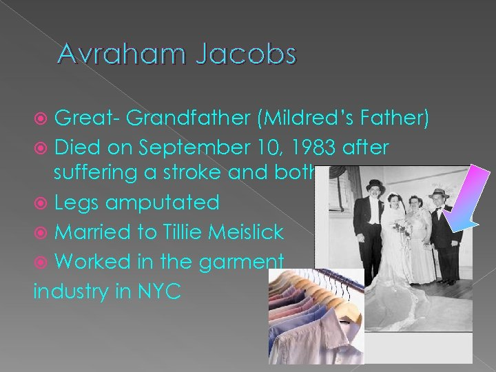 Avraham Jacobs Great- Grandfather (Mildred's Father) Died on September 10, 1983 after suffering a