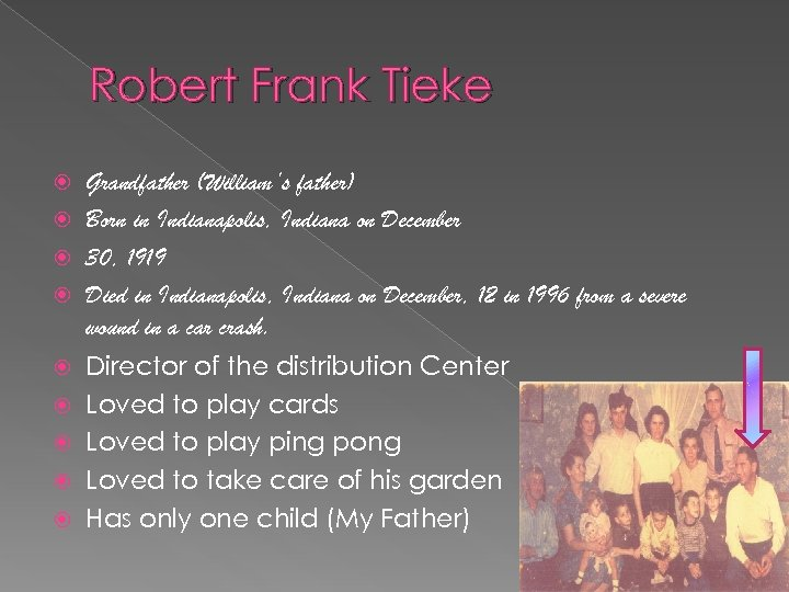 Robert Frank Tieke Grandfather (William's father) Born in Indianapolis, Indiana on December 30, 1919
