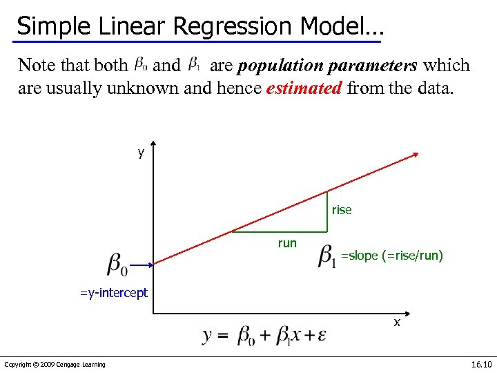 Simple Linear Regression Model… Note that both and are population parameters which are usually