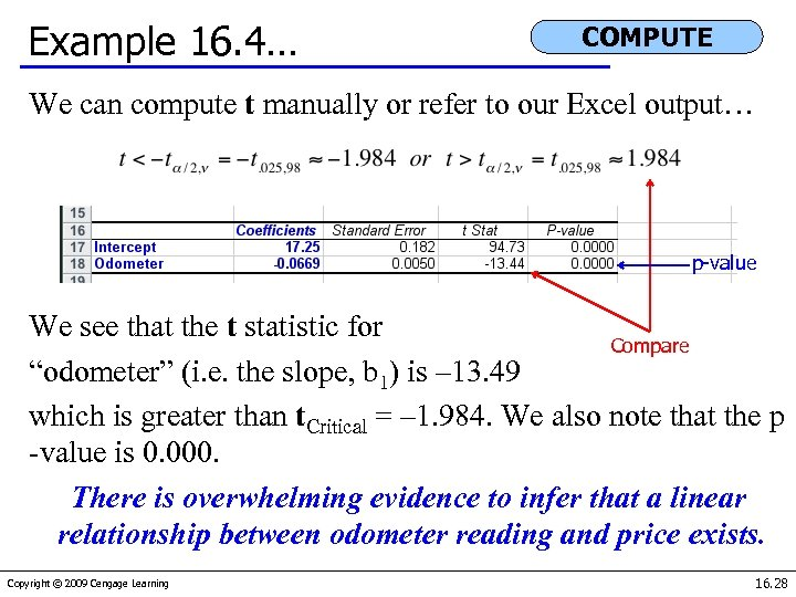 Example 16. 4… COMPUTE We can compute t manually or refer to our Excel