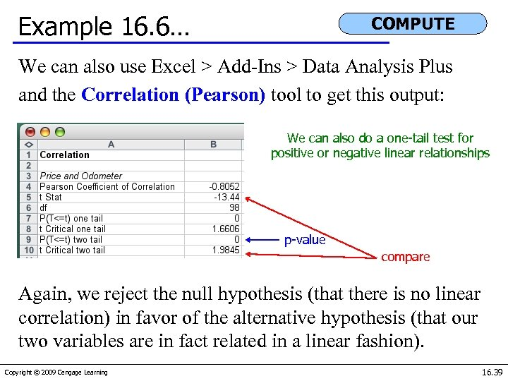 Example 16. 6… COMPUTE We can also use Excel > Add-Ins > Data Analysis