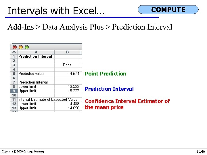 Intervals with Excel… COMPUTE Add-Ins > Data Analysis Plus > Prediction Interval Point Prediction