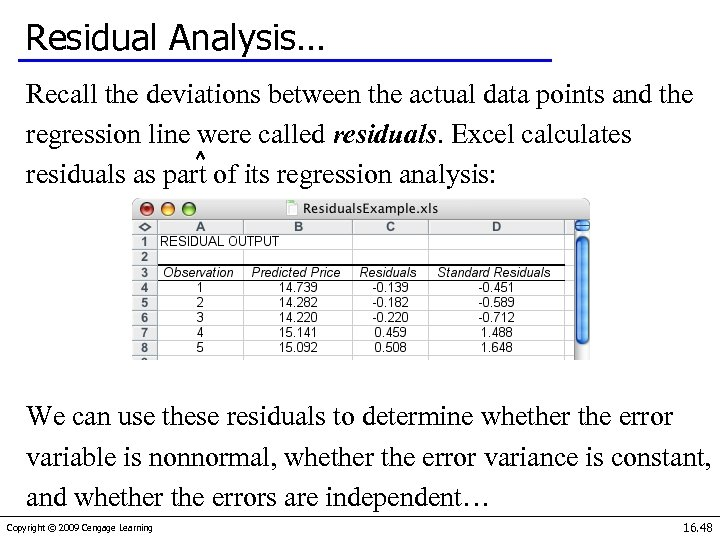 Residual Analysis… Recall the deviations between the actual data points and the regression line