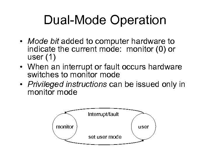 Dual-Mode Operation • Mode bit added to computer hardware to indicate the current mode: