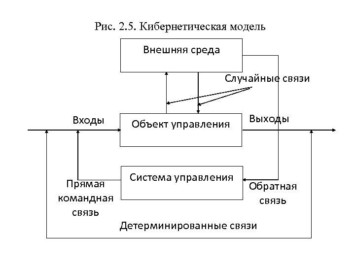 Рис. 2. 5. Кибернетическая модель Внешняя среда Случайные связи Входы Прямая командная связь Объект