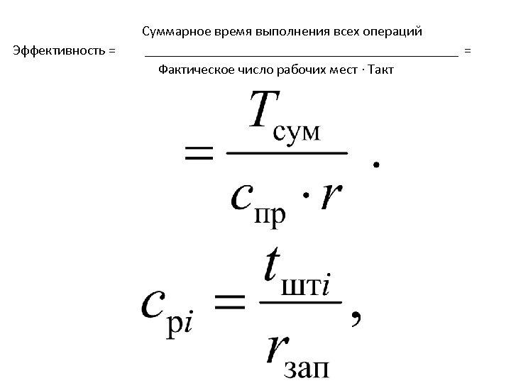 Суммарное время выполнения всех операций = Эффективность = Фактическое число рабочих мест ∙ Такт