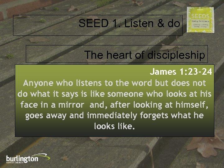 SEED 1. Listen & do The heart of discipleship James 1: 23 -24 Anyone
