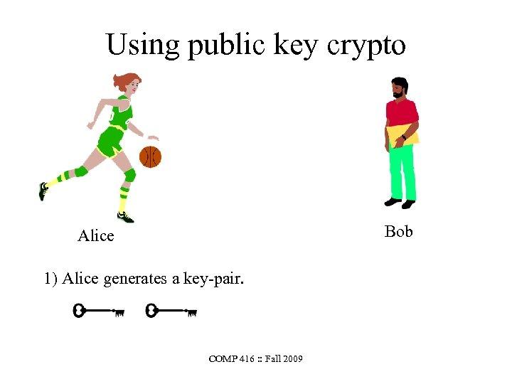Using public key crypto Bob Alice 1) Alice generates a key-pair. COMP 416 :
