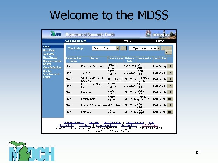 Welcome to the MDSS 13
