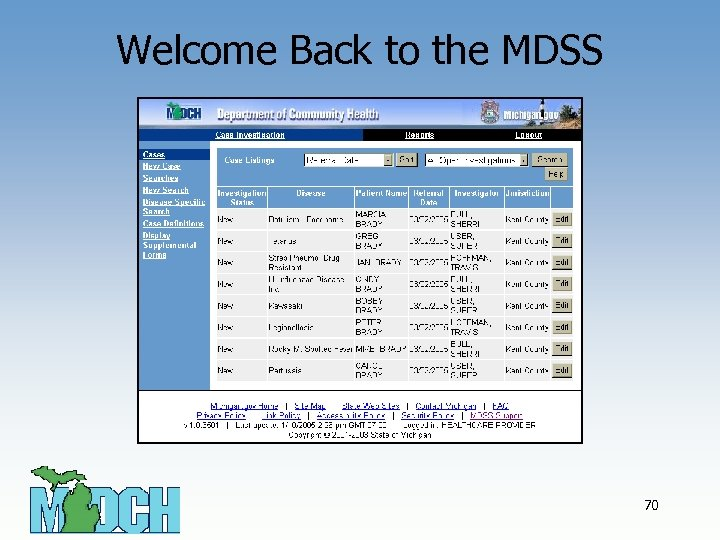 Welcome Back to the MDSS 70