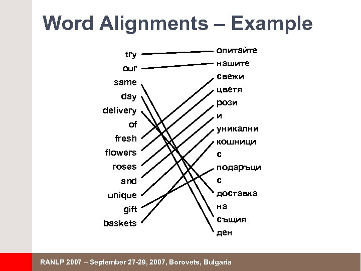 Word Alignments – Example try our same day delivery of fresh flowers roses and