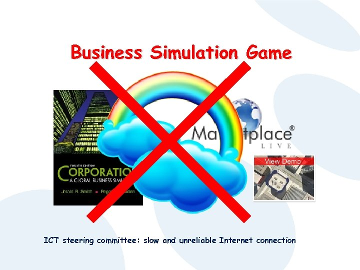 Business Simulation Game ICT steering committee: slow and unreliable Internet connection