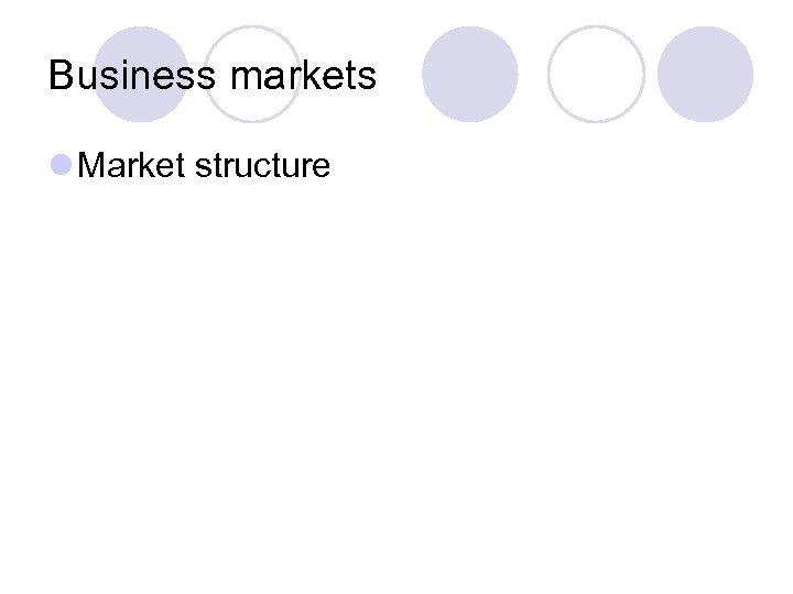 Business markets l Market structure