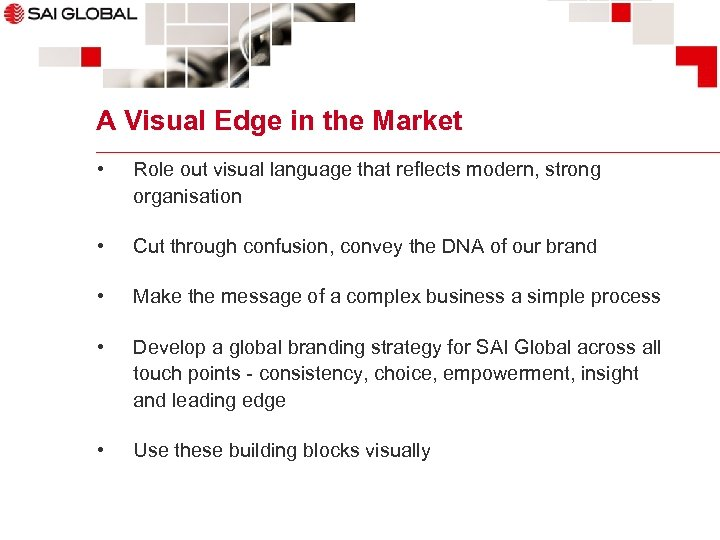 A Visual Edge in the Market • Role out visual language that reflects modern,