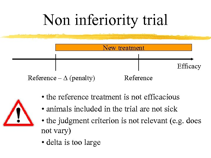 Non inferiority trial New treatment Efficacy Reference – D (penalty) Reference • the reference